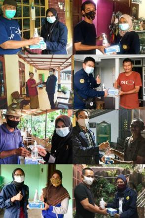 Mahasiswa KKN UPY Bagikan Masker dan HandSanitizer